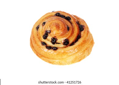 The French bread on a white background: a roll with cinnamon and chocolate