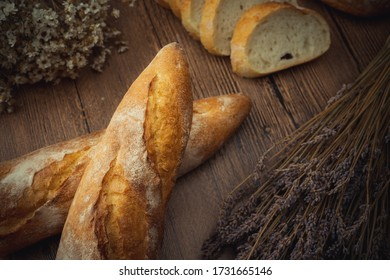 French bread on the wood table