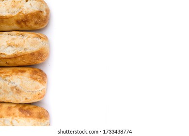 French bread rolls in a row with copy space.