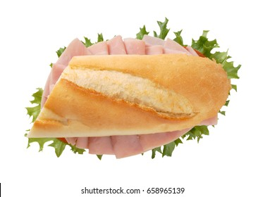 French bread sandwich with ham on white background