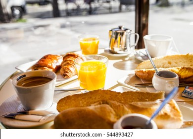 French breakfast in a Parisian cafe,