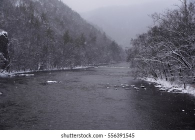 french broad river flowing in winter