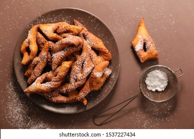 french bugne, angels wings with sugar
