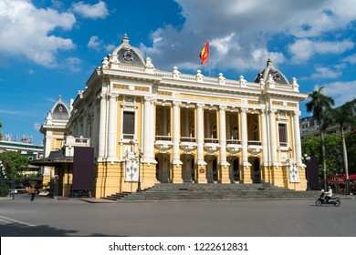 French built Opera House in Hanoi, with blue sky and white clouds
