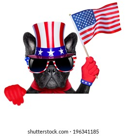 french bulldog behind a white and blank banner waving flag usa