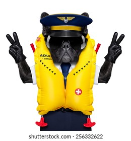 french bulldog dog as an airline cockpit captain wearing a yellow life vest , with peace and victory fingers,  isolated on white background