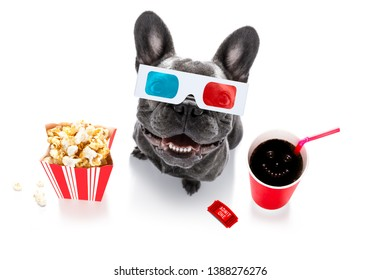 french bulldog  dog going to the movies with soda and glasses and popcorn and tickets, isolated on white background and 3d glases