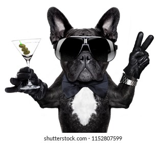 french bulldog dog with martini cocktail and victory or peace fingers wearing a retro wrist watch