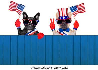 french bulldog row of dogs waving a flag of usa on independence day on 4th  of july , isolated on white background, behind a blank empty wall as banner or placard