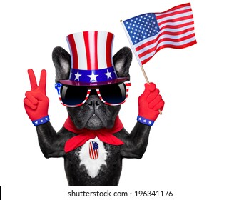 french bulldog waving a flag of usa and victory or peace fingers