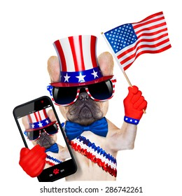 french bulldog waving a flag of usa on independence day on 4th  of july , isolated on white background, while taking a selfie