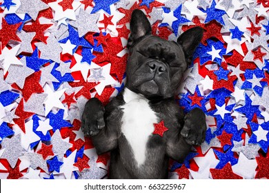 french bulldog waving a flag of usa and victory or peace fingers on independence day 4th of july
