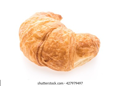 French butter croissant bread and bakery isolated on white background
