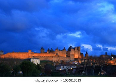 french castle of Carcassonne in Aude, Occitanie in south of France.