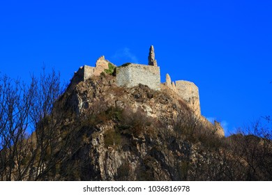 french castle of Usson in Ariege, Occitanie in south of France