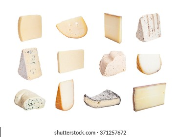 French cheese collection isolated on white background.
