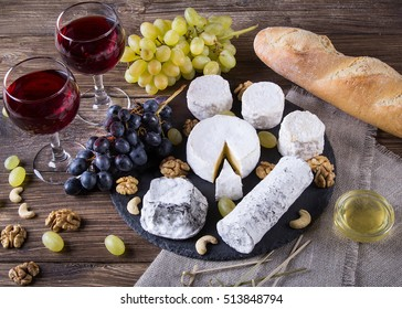 French cheese plate with Camembert Valencay Crottin de Chavignol Sainte-maure de & French Cheese Plate Images Stock Photos \u0026 Vectors | Shutterstock