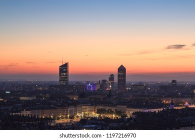 The French city of Lyon during a colorful dawn in summer. lyon, France.