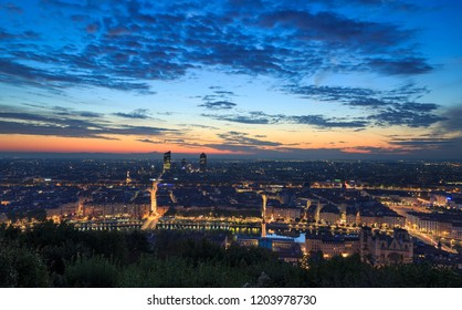 The French city of Lyon during a colorful dawn in autumn. lyon, France.