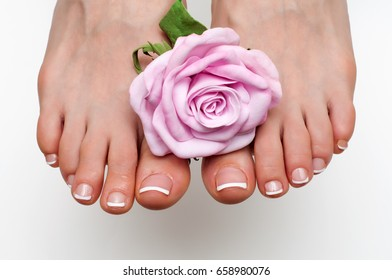 French classic pedicure on square form with a rose