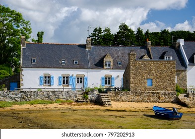 French coastal houses from Brittany region