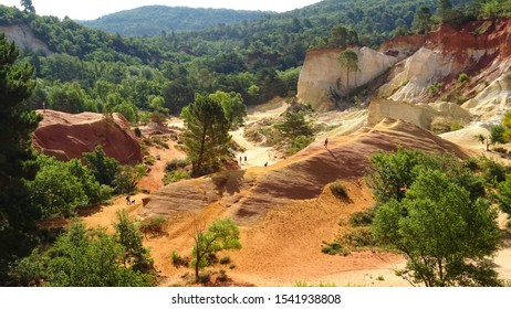 French Colorado, stunning ochre rock formations, popular natural park near Rustrel town, Vaucluse area, Luberon Valley, Provence region, France, Europe. popular touristic place for summer holiday