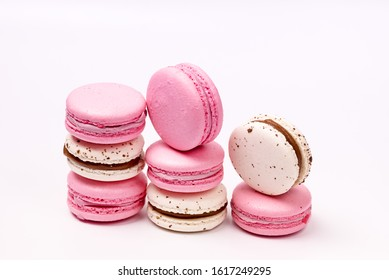 French Colorful Macarons Colorful Pastel Macarons on White Background White and Pink Macarons Horizontal