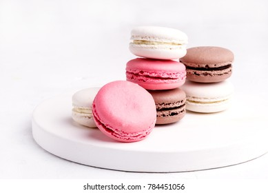 French Colorful Macarons Colorful Pastel Macarons on White Background Whitr Pink and Brown Macaron
