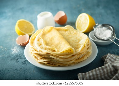 French crepes with lemon and sugar