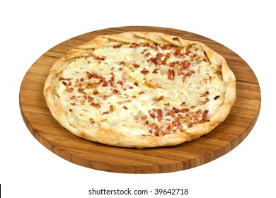 French Crepe-Tarte Flambee,isolated on white