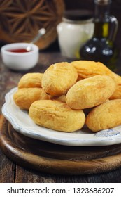 French cuisine. Pomme dauphine: deep-frying crisp potato puffs made by mixing mashed potatoes with choux pastry. Potato cutlet. Rustic style