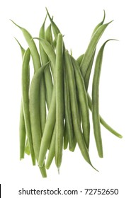 French Cut Green String Beans Isolated on White with a Clipping Path.