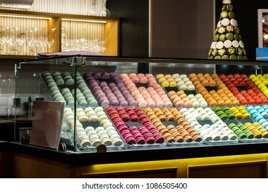 French desert, fresh colorful macarons in the bakery