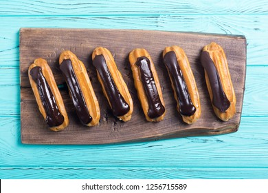 French dessert eclair with chocolate .