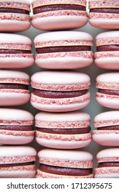 French dessert macaron filled with white chocolate and blueberry ganache. Macarons are lying in a row (line). Macarons are on a white background. Top view.