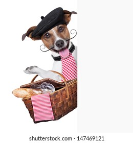french dog with  Picnic basket behind placard
