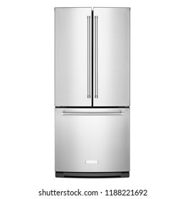 French Door Bottom Freezer Refrigerator with Gallon Door Storage Isolated on White Background. Front View of Steel Three Door Bottom Mount Fridge. Kitchen and Domestic Appliances. Full Frost Free