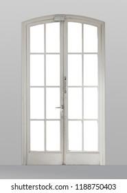 French door on a white wall