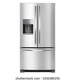 French Door Refrigerator Isolated on White Background. Domestic Appliances. Front View of Stainless Steel Three Door Fridge Freezer. Side-By-Side Counter-Depth Refrigerator. Kitchen Appliances