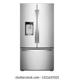 French Door Refrigerator Isolated on White Background. Front View of Stainless Steel Free Standing Full Frost Free Freezer. Modern Kitchen and Domestic Appliances