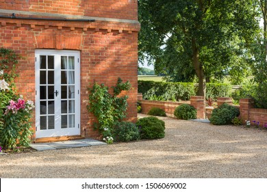 French doors outside a traditional Victorian house in England, UK
