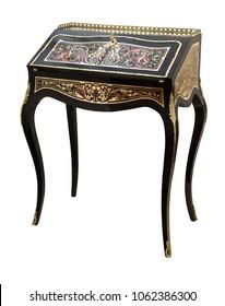 French Ebonized Ladies Bureau Secretary Desk with Brass and Tortoise shell Inlay