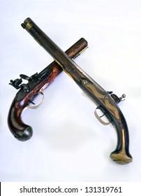 French and English flintlock pistols made around 1800.