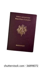 French European Passport on White Background