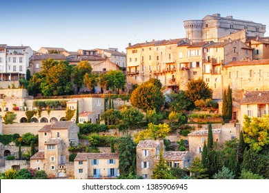 French famous landmark in Provence - old town Gordes. Amazing sunset view on panorama. Iconic travel destination spot in France, Provence - medieval city Gordes in Luberon area.
