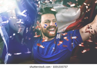 French fan celebrating
