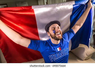 French fans holding the national flag