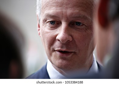 French finance minister Bruno Le Maire talks to media before the Eurogroup finance ministers meeting at the EU headquarters at the Kirchberg Conference Centre in Luxembourg on Jun. 15, 2017