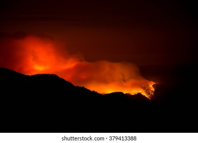 French Fire burning at night on the Sierra National Forest.