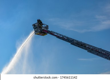 French firefighter in action on the large scale